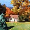 秋天的小屋  纸上水彩 39CM  X  27CM  2010.5