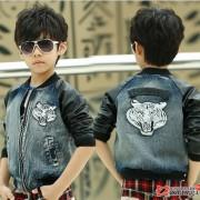 2014秋装新款韩版个性牛仔衣服韩国夹克儿童装男童外套 批发