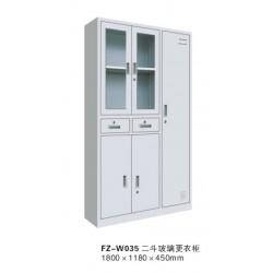 FZ-W035二斗玻璃更衣柜-喀什办公家具,喀什方正办公家具
